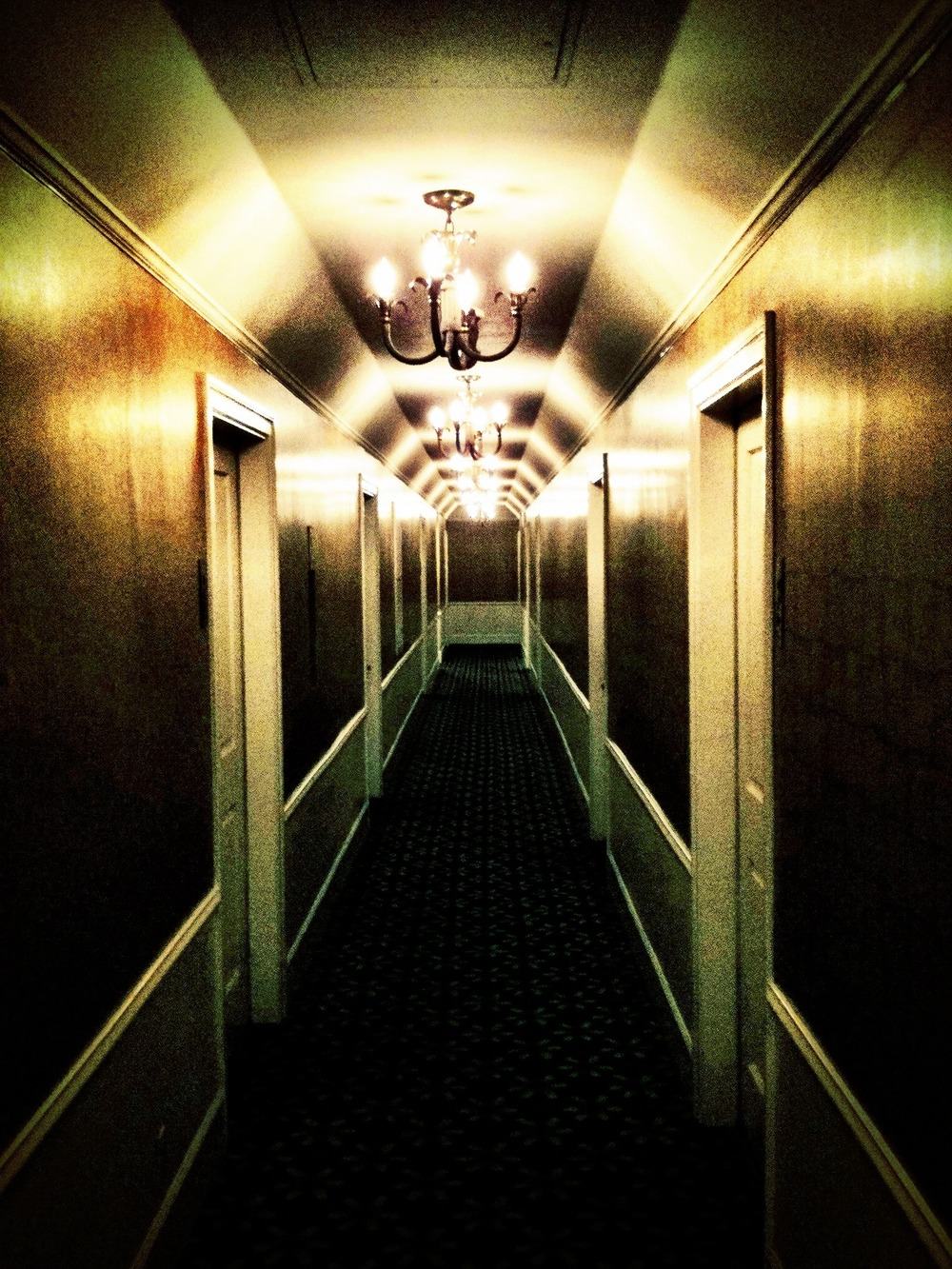 The hallways in this hotel remind me of The Shining. Red Rum...