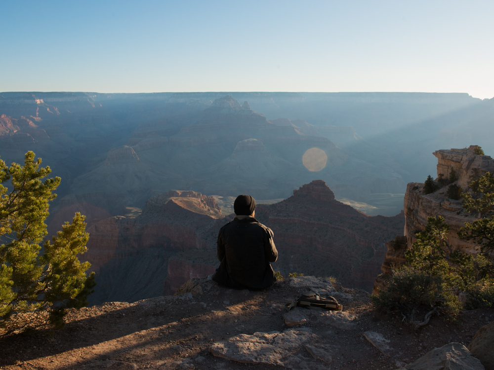 Camped near the Grand Canyon and got there just after sunrise.