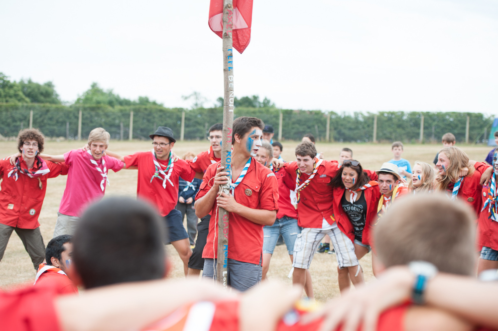 French Scouts celebrate their arrival at massive Scout and Guide Jamboree KIJ 2013