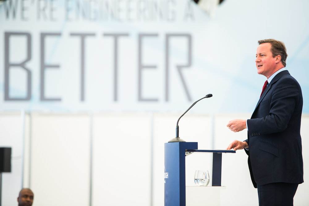 David Cameron gives what turns out to be his last public engagement as Prime Minister, at Farnborough Airshow