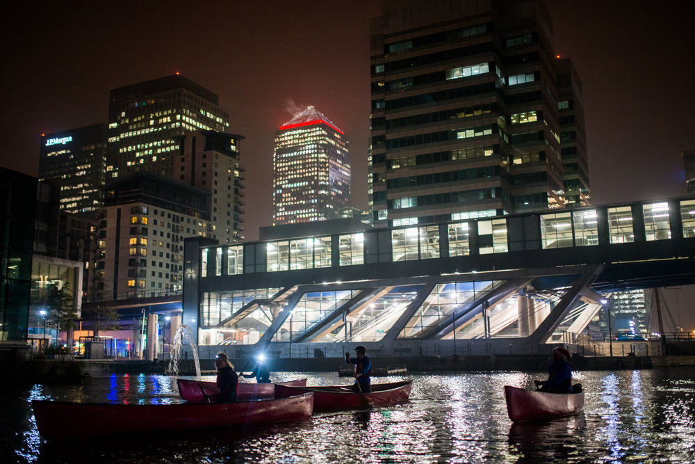 Put some boats into South Quay and went for a Christmas Paddle around Canary Wharf. Surreal.