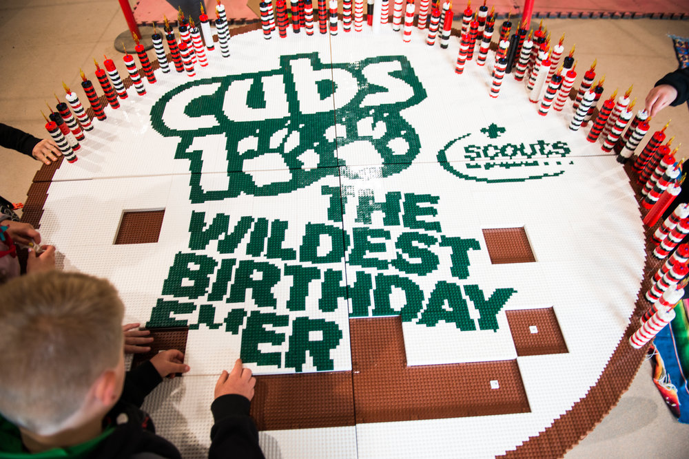 A giant Lego birthday cake for Cub Scouts!