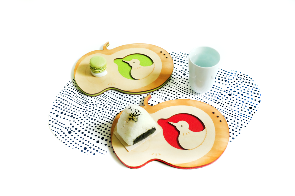 Apple Bird Coaster Tray