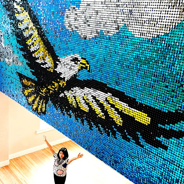 Long time no see! We have been so busy we've neglected this account. Thank you all for staying tuned in! We have a lot of public art to share this summer. Here is our most recent sequin mural for a wonderful boutique hotel in Auburn 👉@staycohoauburn Big thanks to @timbredesignbuild for the installation assistance~ . . . . . . #Sequins #Publicart #muralart #mural #sequinsart #taropop #taropopstudio #mural #memphisart #artistoninstagram