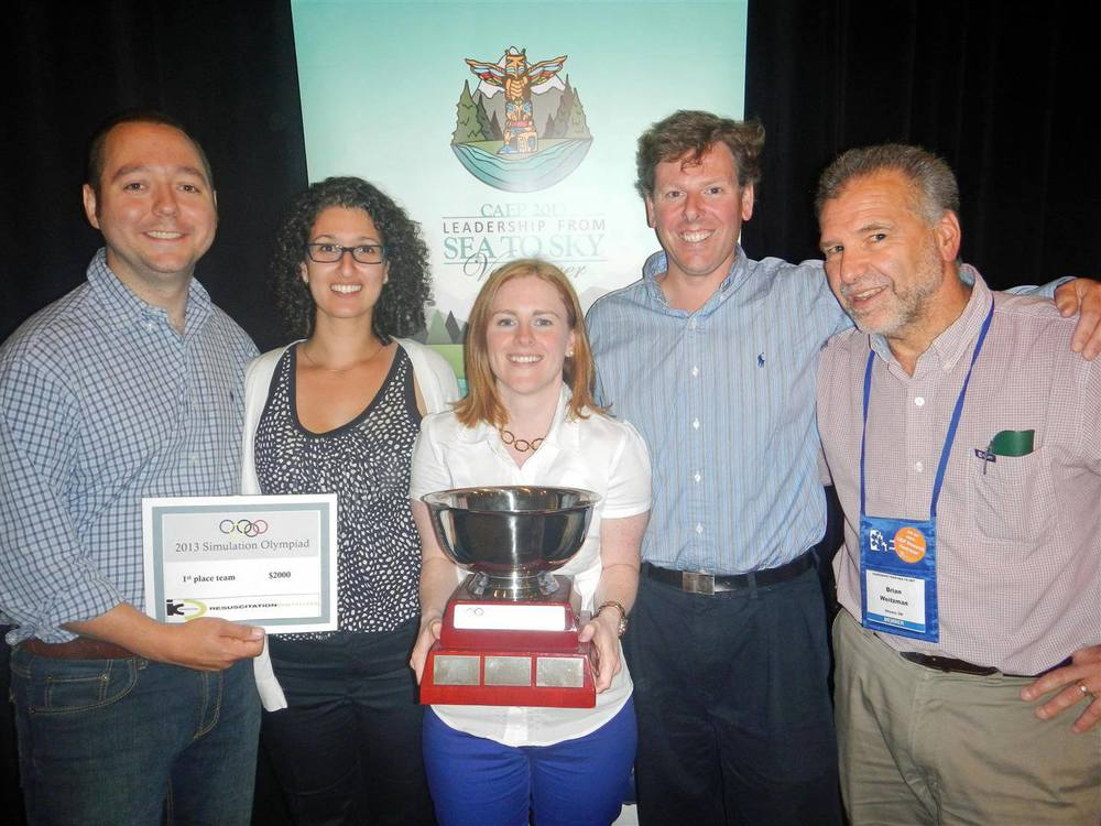CAEP 2013 Simulation Olympiad Winners - The University of Ottawa  (L-R) Drs.    Andrew Willmore,    Layli Sanaee, Erin O'Connor,    Mike Austin    and Coach    Dr. Brian Weitzman