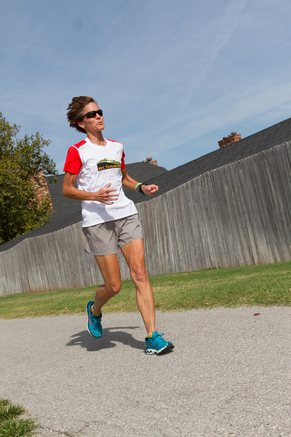 Nancy Shidler, Administrative Director for Pacer Health Services, trains in Oklahoma City Monday afternoon, in preparation to run the New York City Marathon.