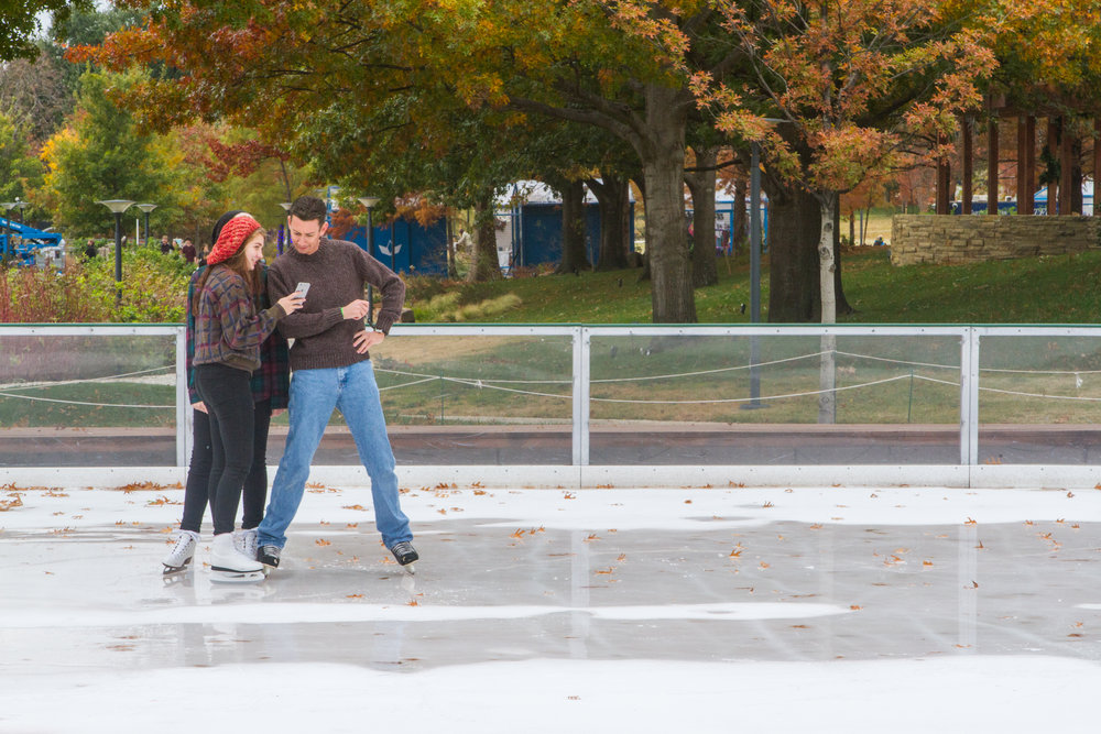 "Rebecah Browne shows her father, Steven, and sister, Sam, her ""skating selfie"" at the  Devon Ice Rink at the Myriad Botanical Gardens in Oklahoma City."