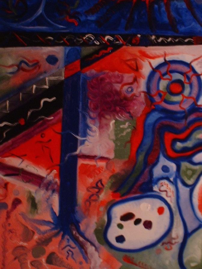 Aliens in Art - Oil on Masonite by Ryan, 2001