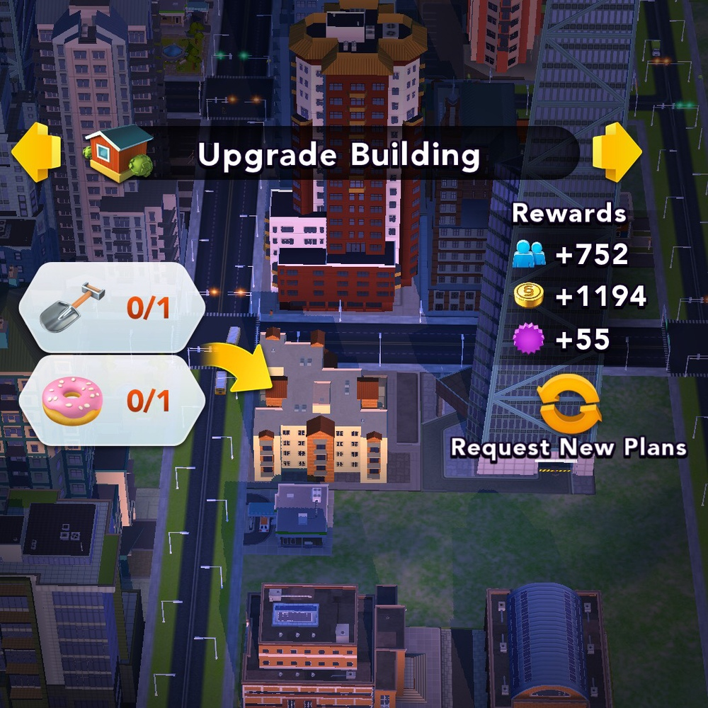 When we tap on it to find out, we see that in order to upgrade, we need a shovel and a donut.  A donut?  To upgrade a building?  Where are we going to get a donut?