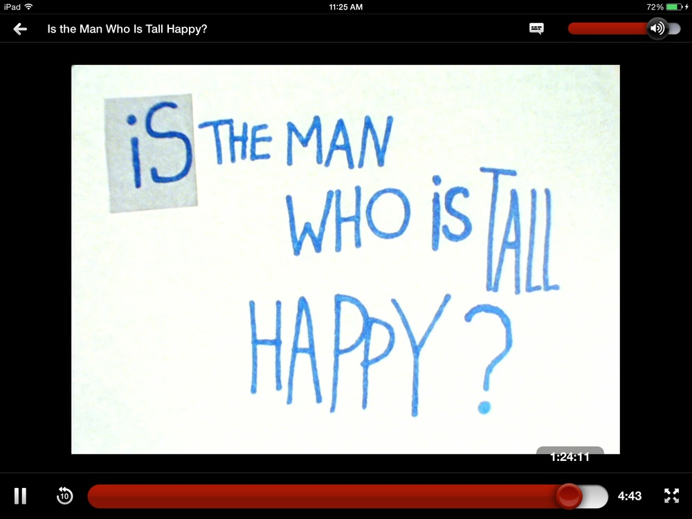 "Screenshot from  "" Is the Man Who Is Tall Happy?: An Animated Conversation with Noam Chomsky"" on  Netflix"