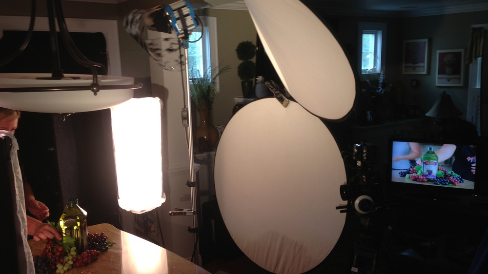 The lighting setup for one of my product demo videos.