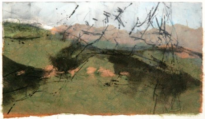Landscape Layers II, ©2012, Kathleen Hayek, Monoprint with chine collé