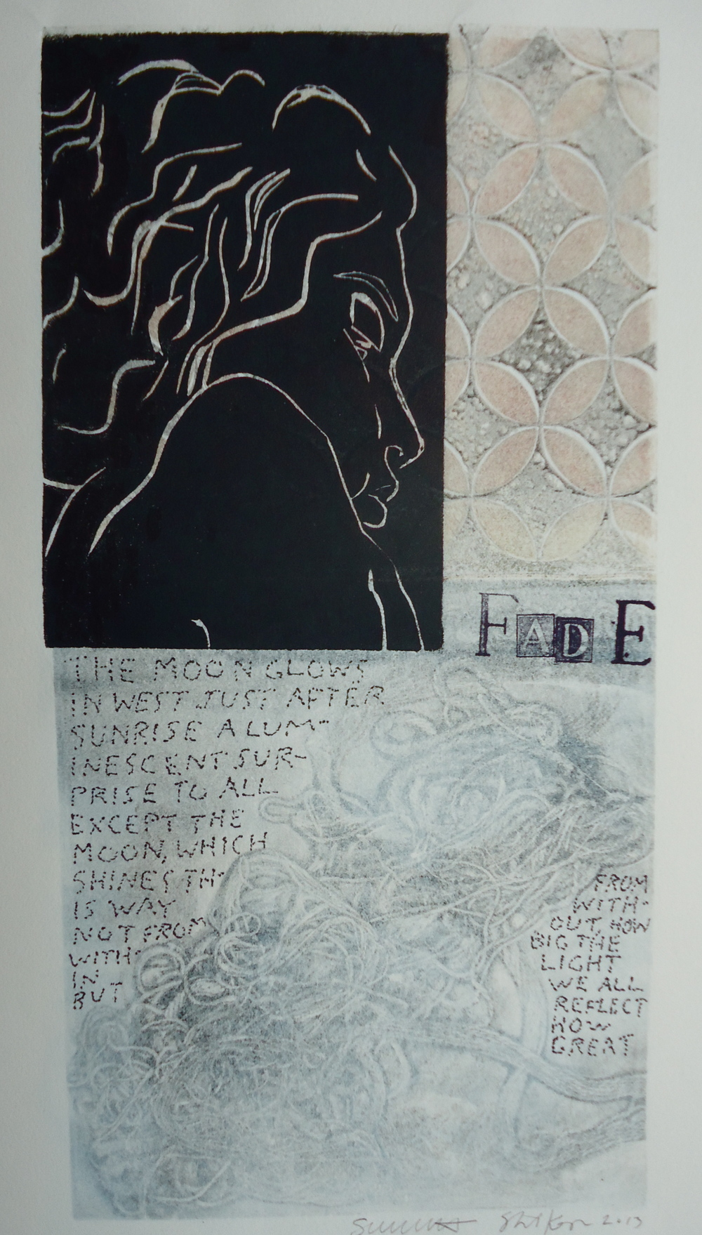 Fade   6 x 12 inches  mixed media  image: Susan Webster  hand written and stamped text: Stuart Kestenbaum  2013