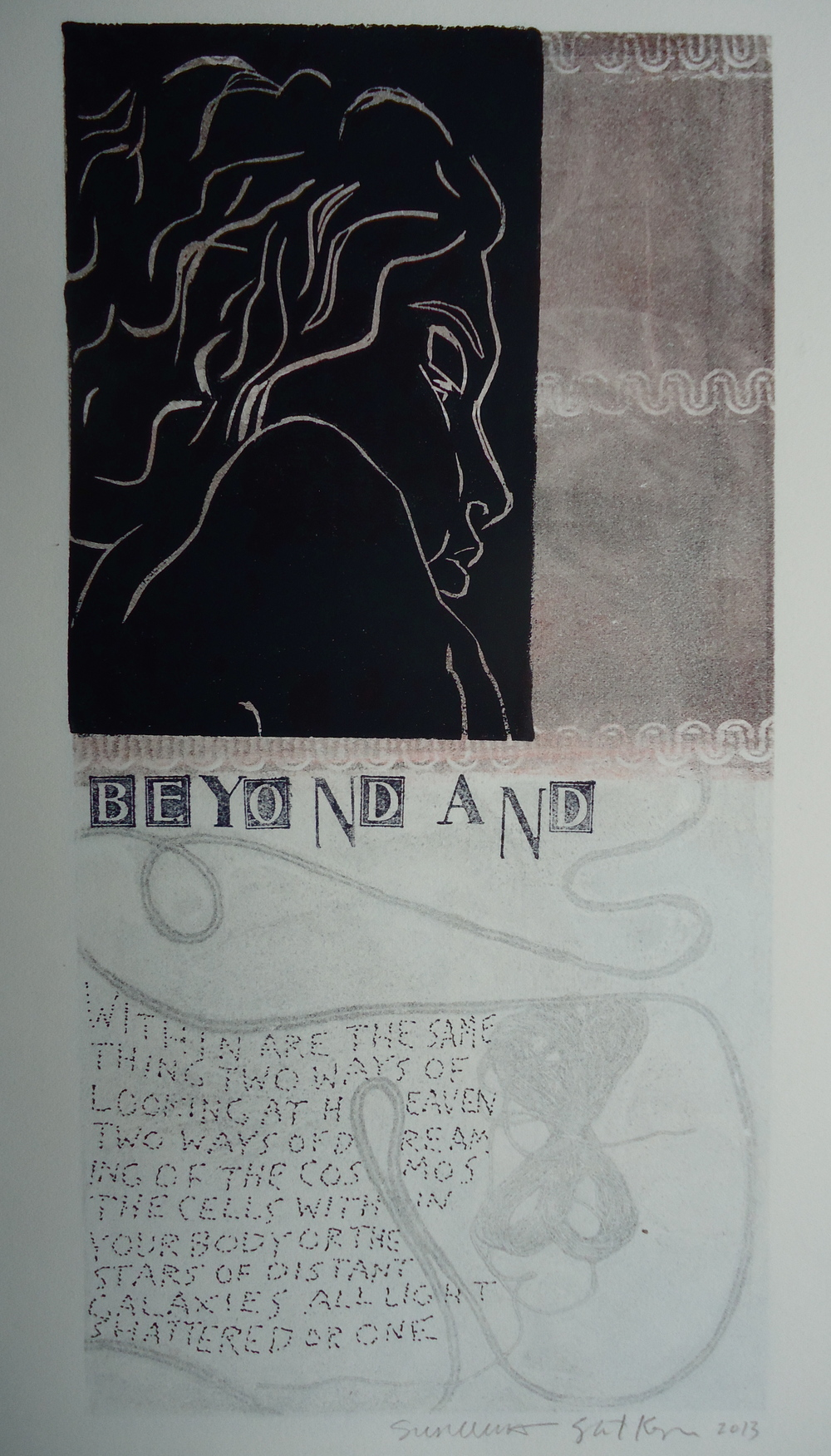 Beyond And   6 x 12 inches  mixed media  image: Susan Webster  hand written and stamped text: Stuart Kestenbaum  2013
