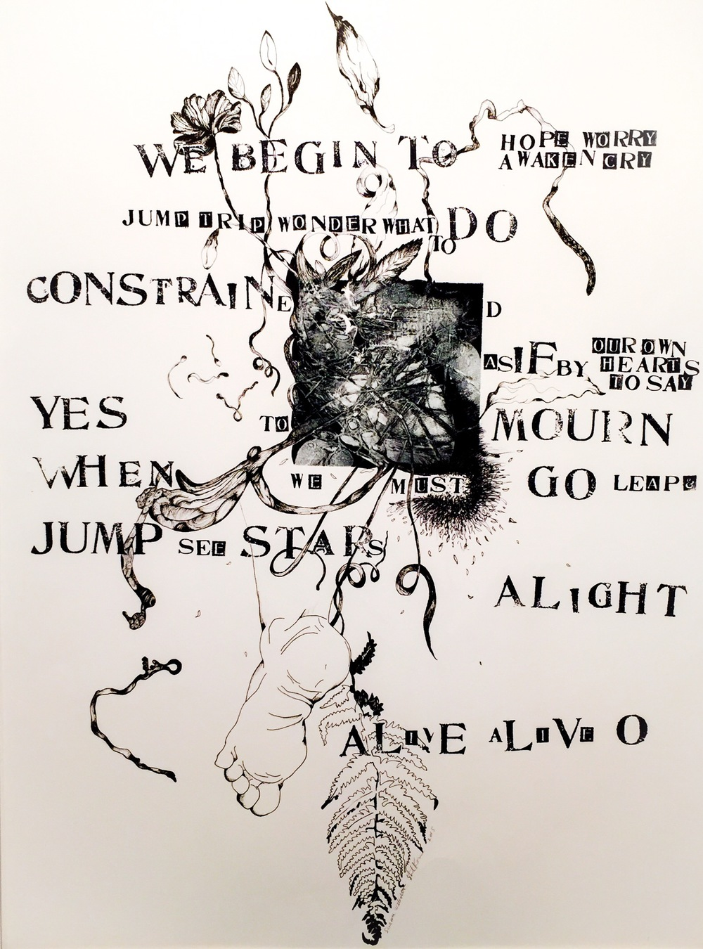 Alight   23 x 30 inches  mixed media  image: Susan Webster   hand stamped text:Stuart Kestenbaum   2015