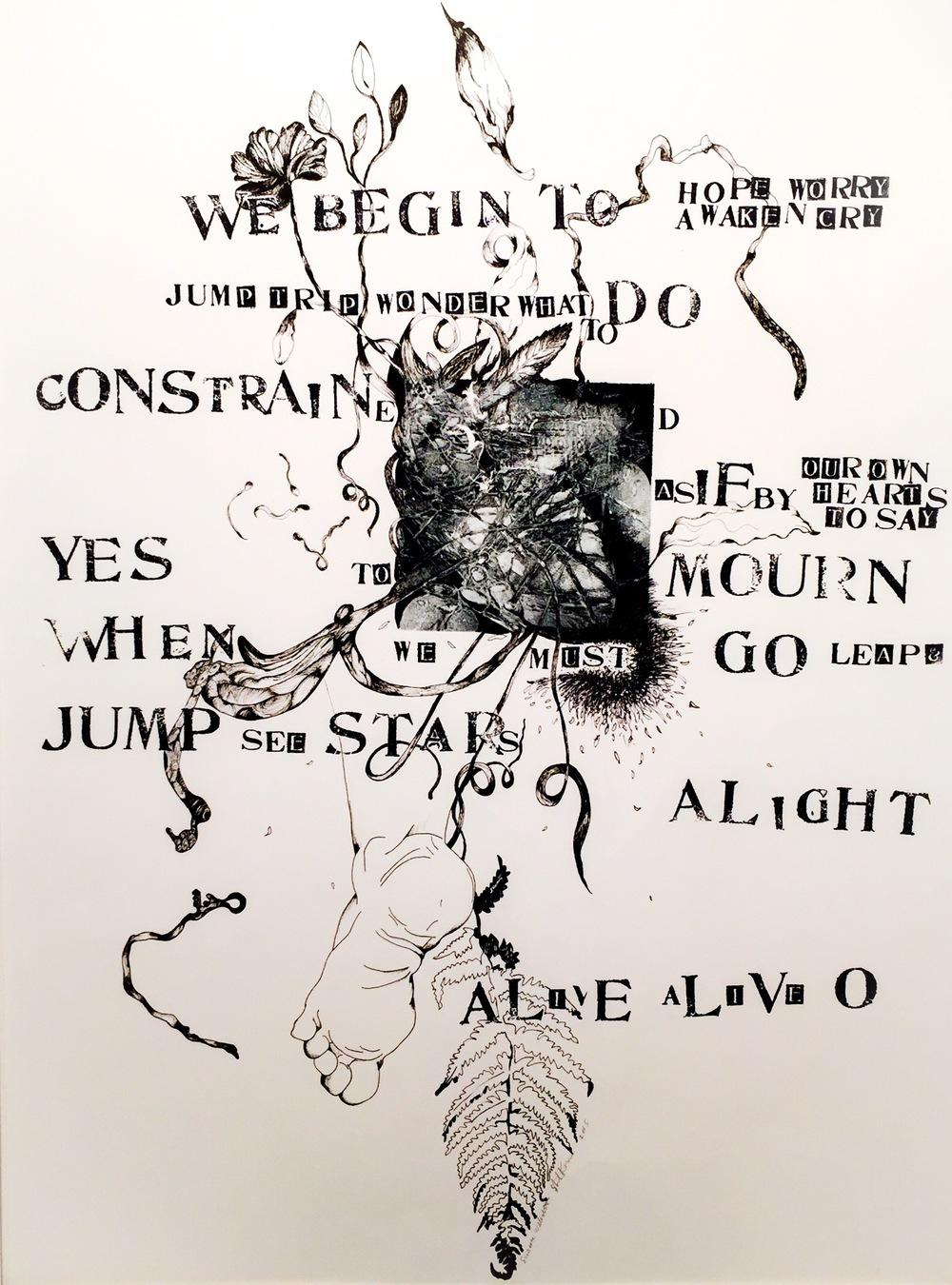 Alight   23 x 30 inches  mixed media  image: Susan Webster  hand stamped text: Stuart Kestenbaum  2015