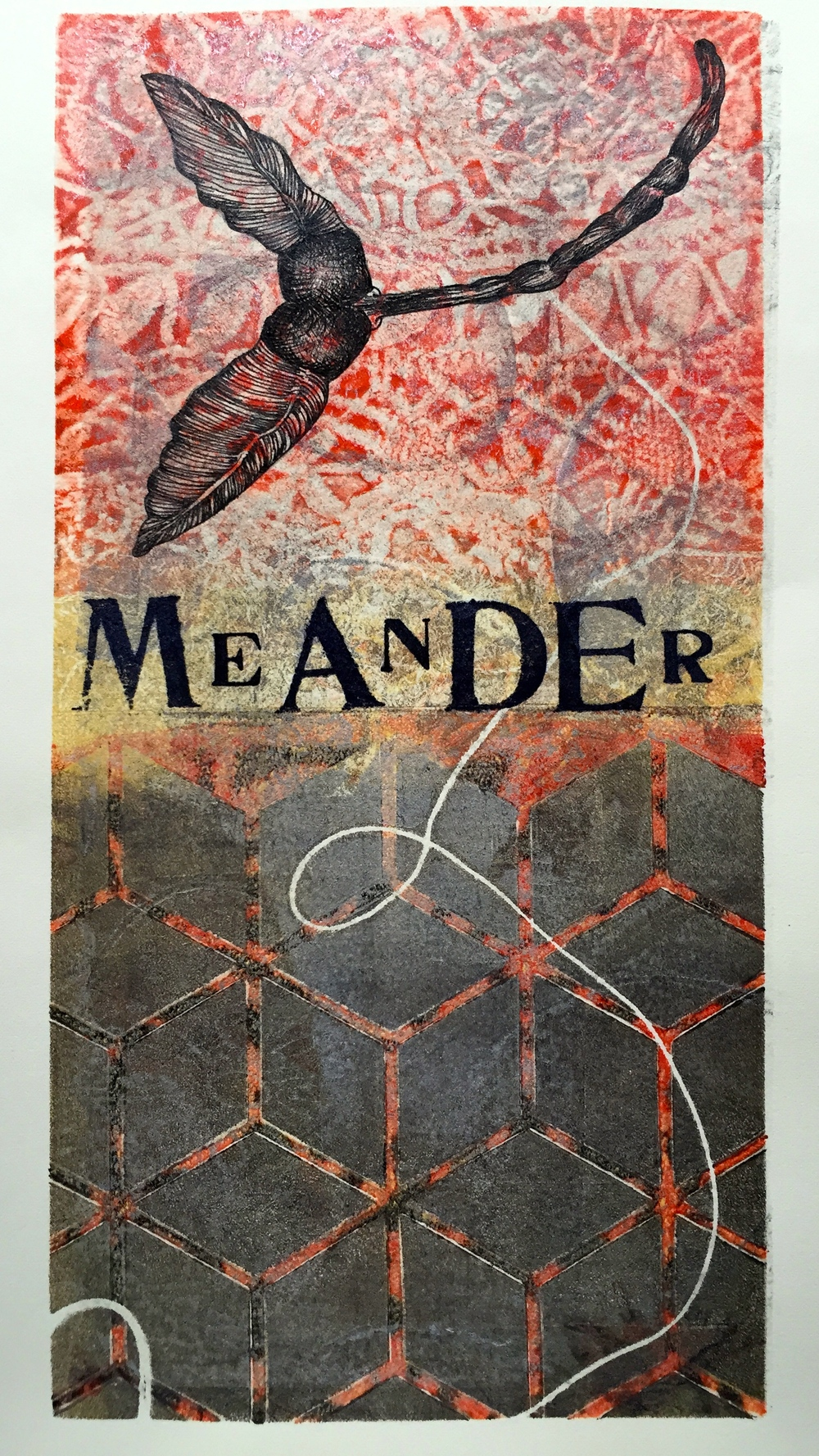 Meander   6 x 12 inches  mixed media  image: Susan Webster  stamped text: Stuart Kestenbaum  2015