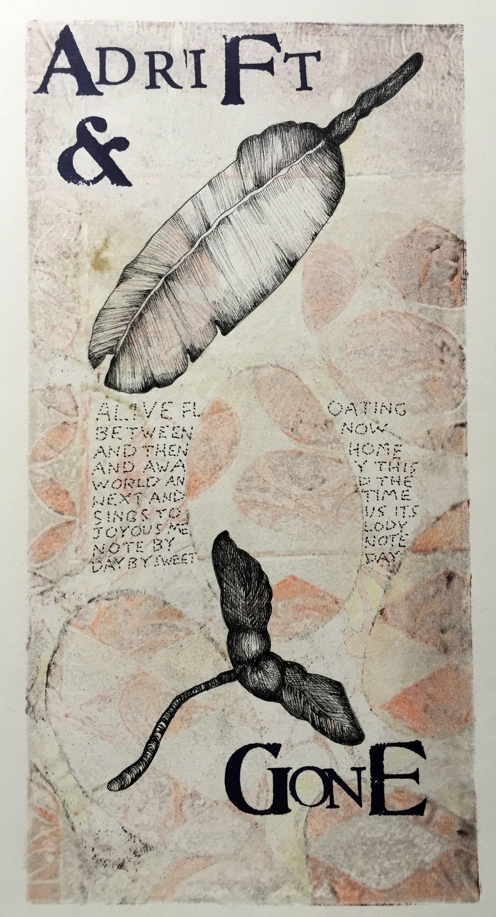Adrift   6 x 12 inches  mixed media  image: Susan Webster  hand written and stamped text: Stuart Kestenbaum  2015