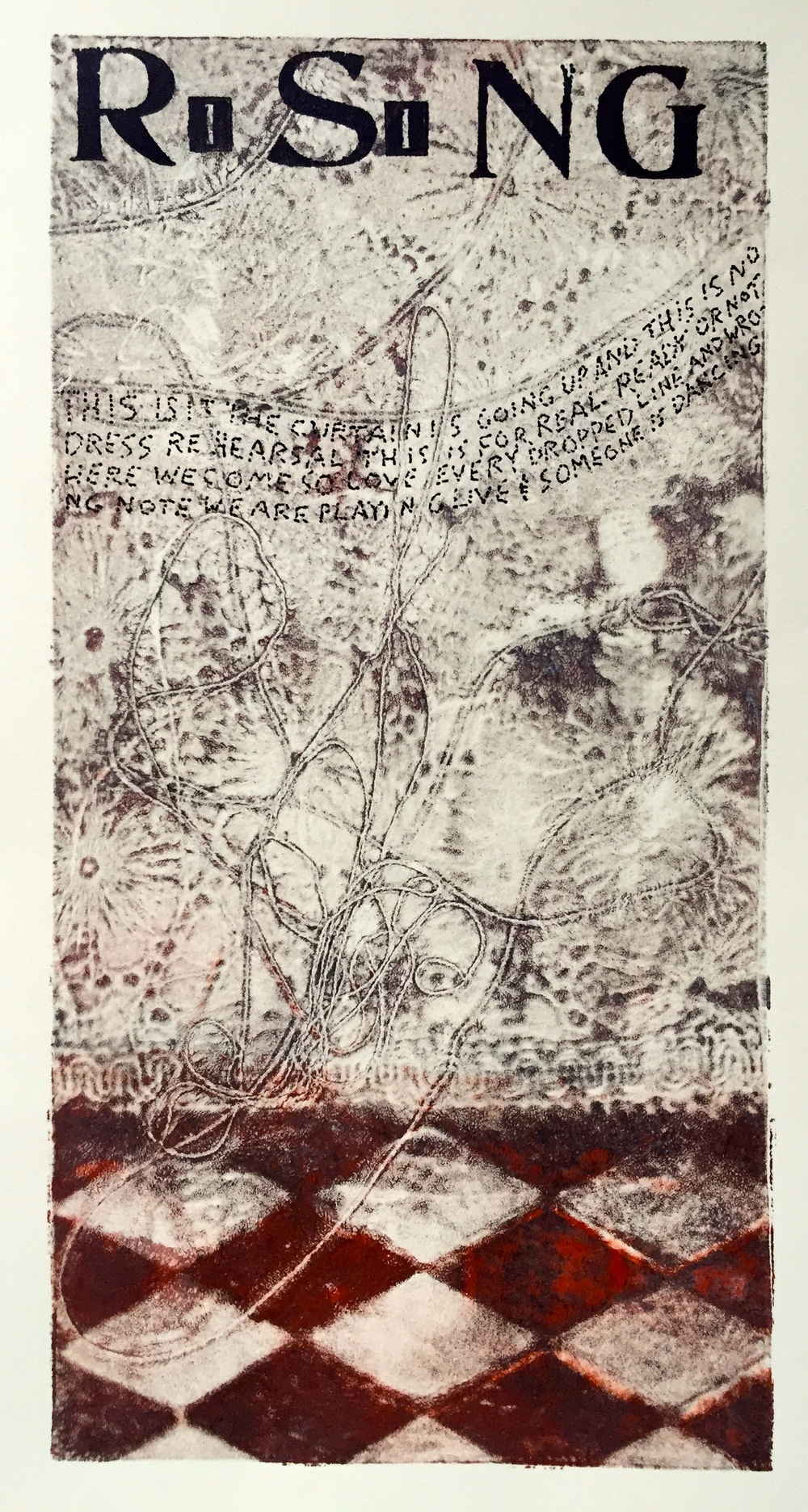 Rising   6 x 12 inches  mixed media  image: Susan Webster  hand written and stamped text: Stuart Kestenbaum  2015