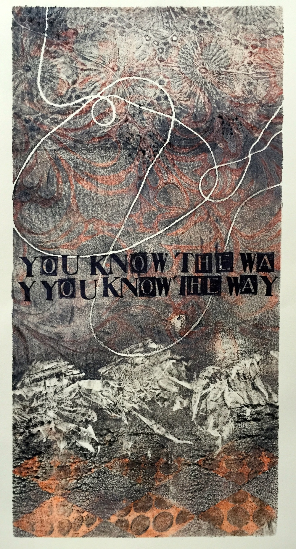 You Know    6 x 12 inches  mixed media  image: Susan Webster  stamped text: Stuart Kestenbaum  2015