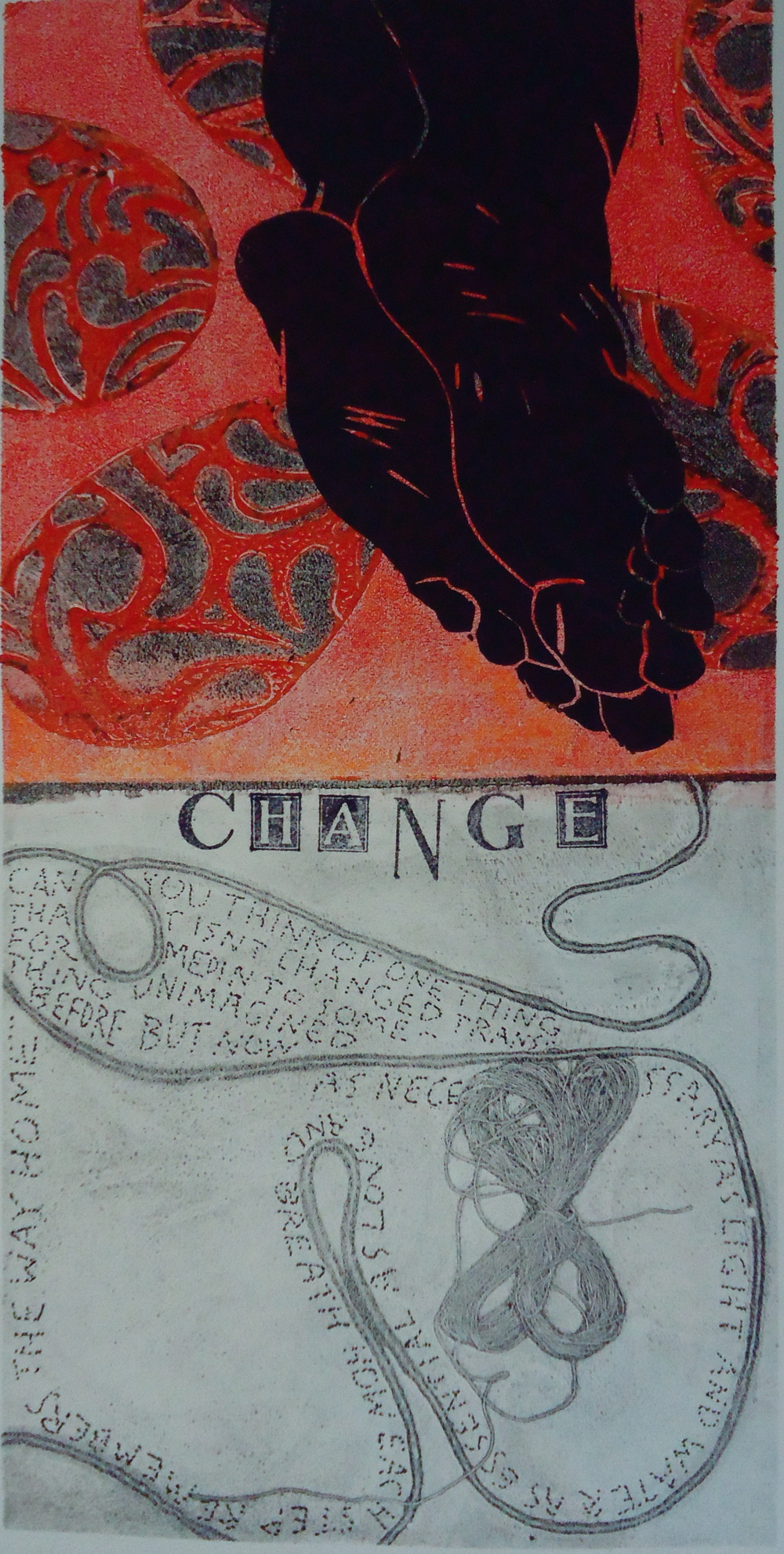 Change   6 x 12 inches  mixed media  image: Susan Webster  hand written and stamped text: Stuart Kestenbaum  2013