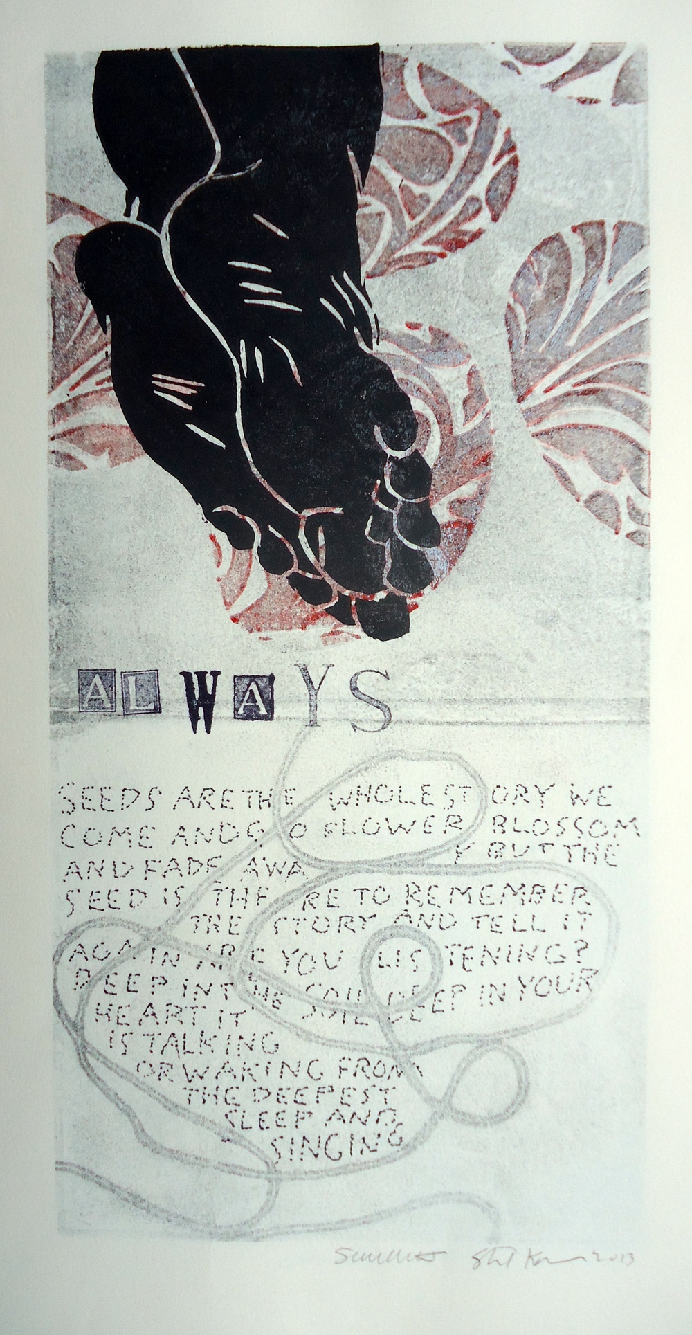 Always   6 x 12 inches  mixed media  image: Susan Webster  hand written and stamped text: Stuart Kestenbaum  2013