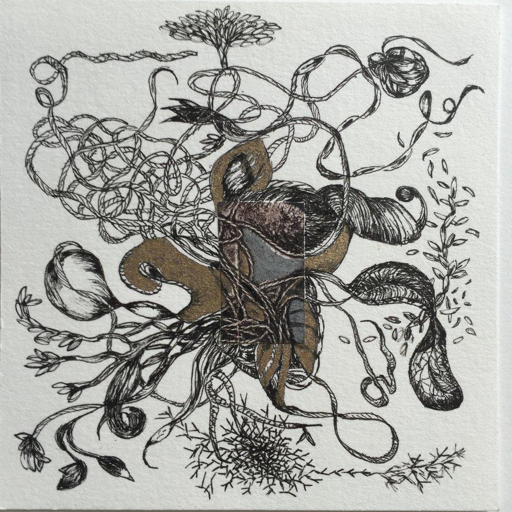 Shigaraki Japan 6   4 1/2 x 4 1/2 inches  ink on paper  2015