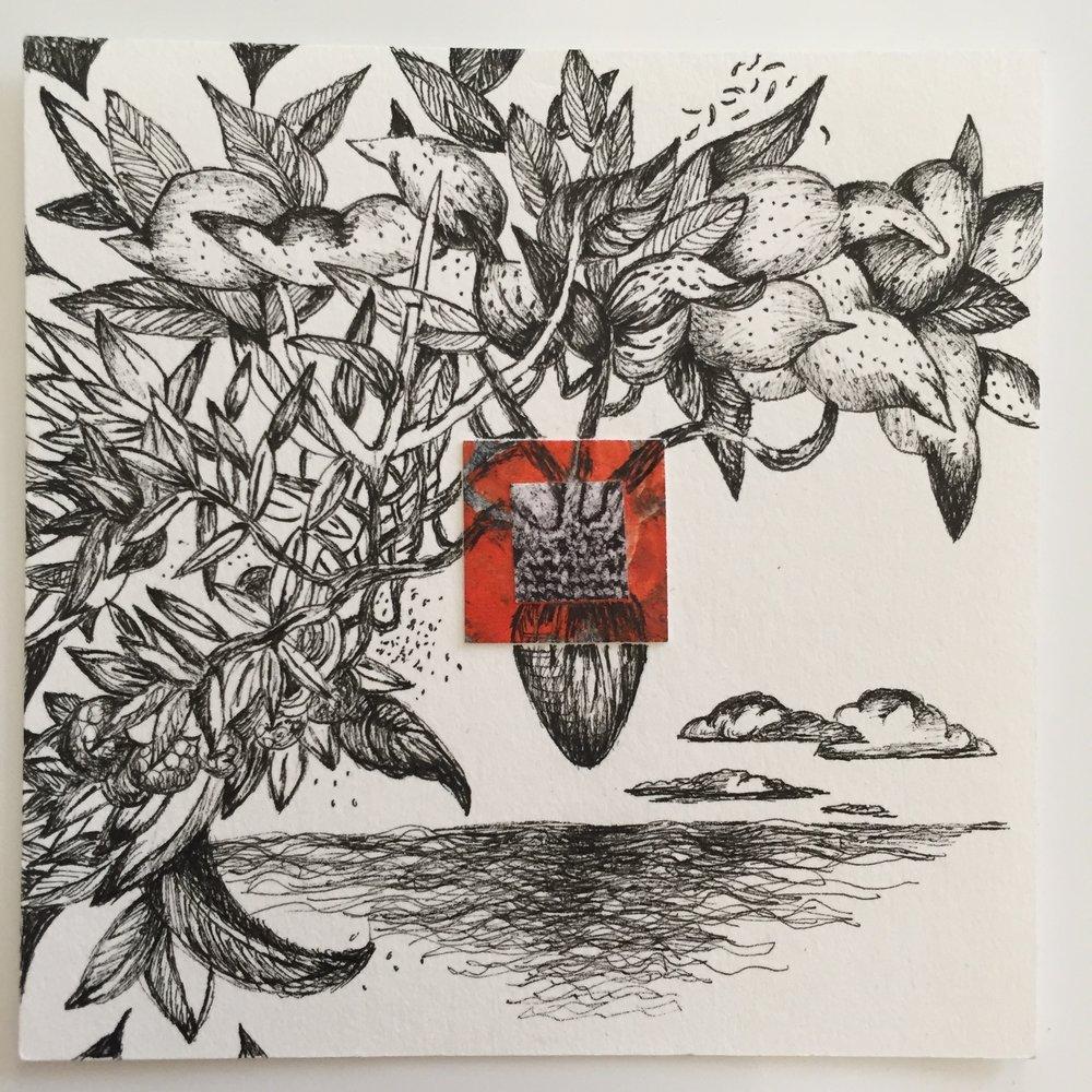 Shigaraki Japan 9   4 1/2 x 4 1/2 inches  ink on paper  2015