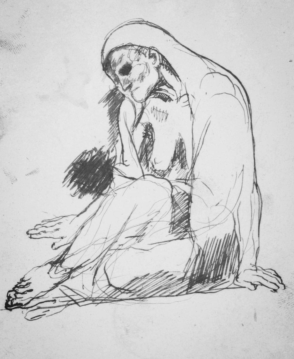 La mendiante, de Picasso. Elle est assise, avachie, parangon de la pauvreté.
