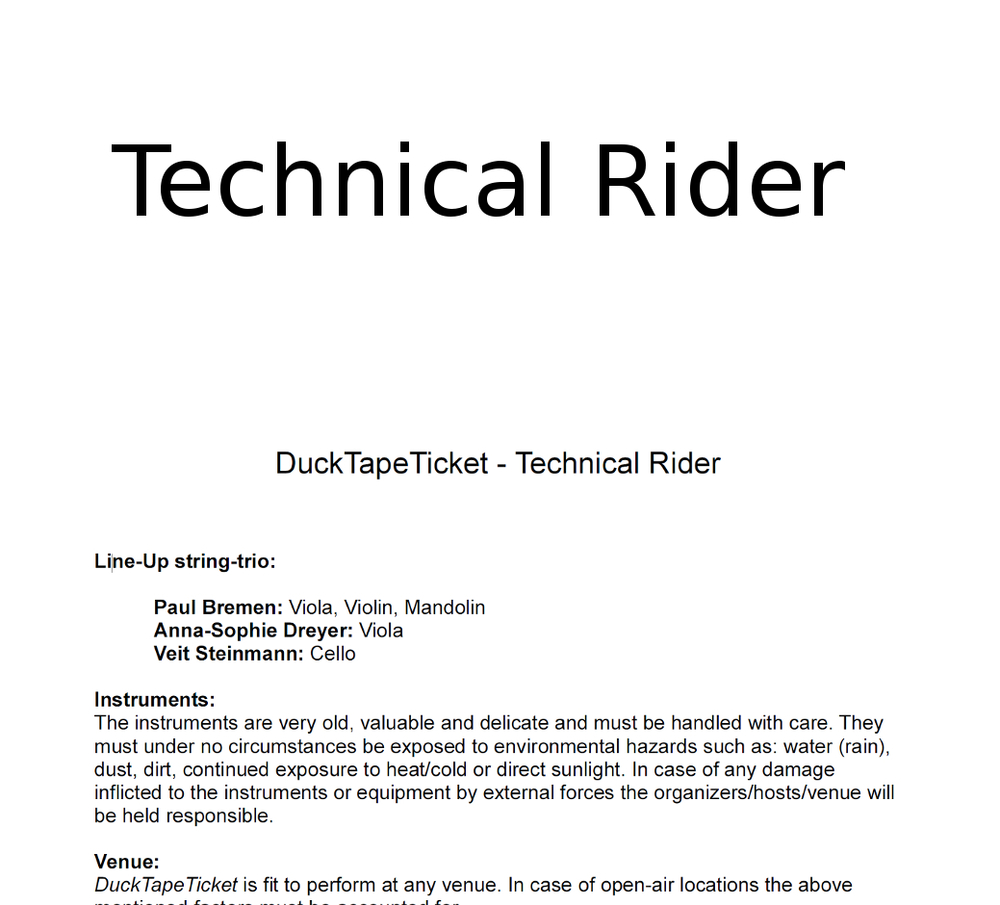TECHNICAL RIDER DEUTSCH
