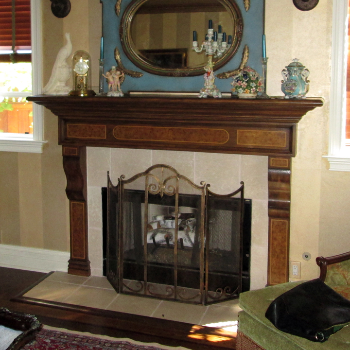 PAINTED WOOD GRAIN AND VENEER ON MANTEL