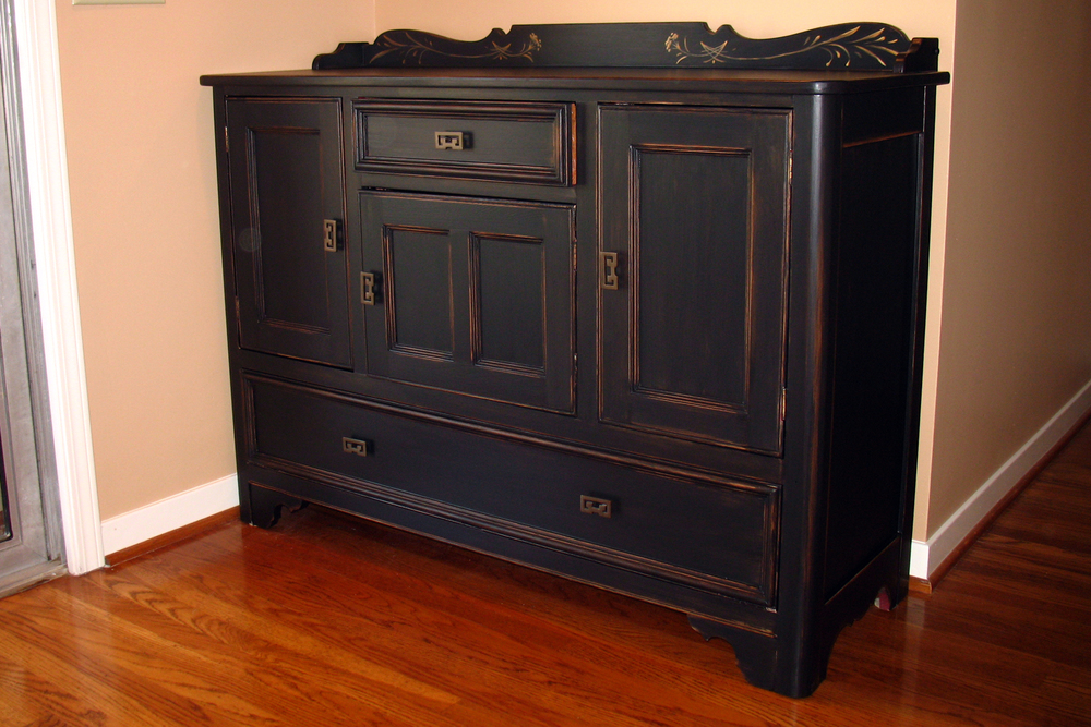 ANTIQUE BLACK WITH WORN EDGES. - FURNITURE — SANDY MACDONALD STUDIO