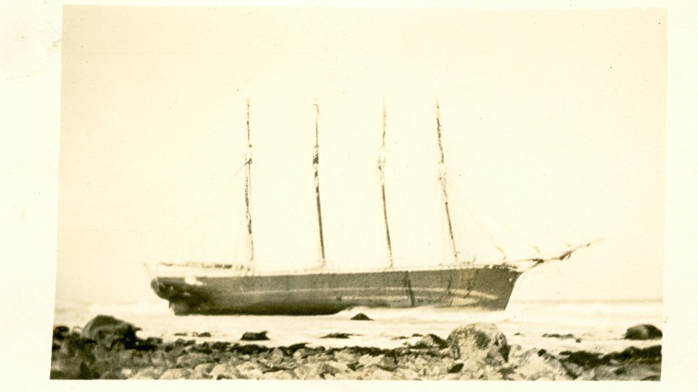 The lumber schooner Kenwood ashore at Sand Hills