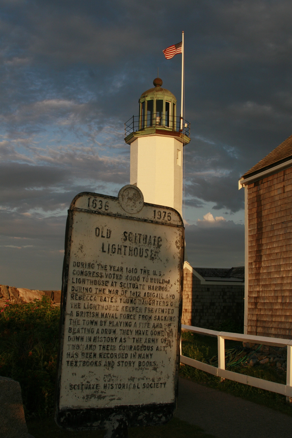One of the ironies of the Scituate Light is that the sign most often read rests where the outhouse once did.