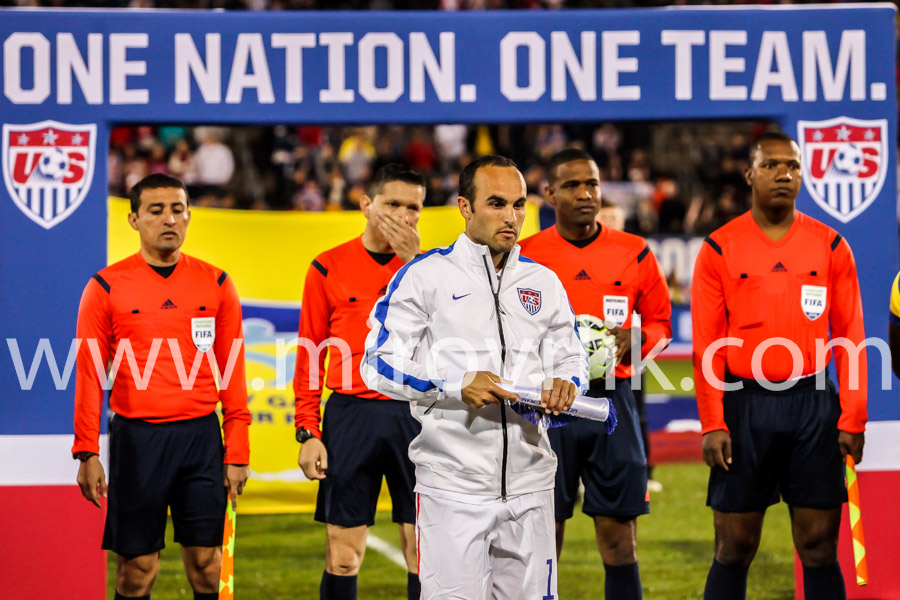 HARTFORD - OCTOBER 10: Landon Donovan with referee on Rentschler Field stadium before soccer match between US Men`s National Team vs Ecuador, on October 10, 2014, in Rentschler Field stadium, Hartford, USA.
