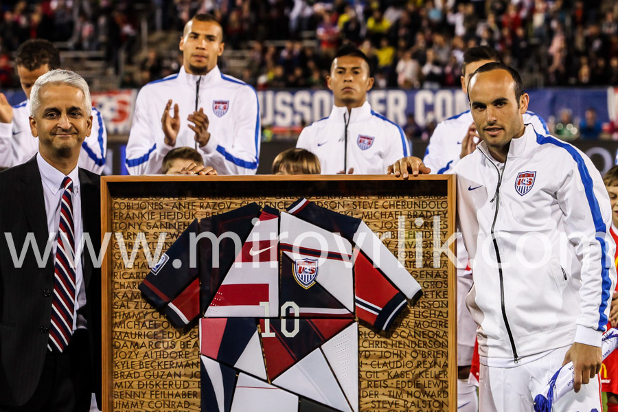 Sunil Gulati (R), president of the United States Soccer Federation with Landon Donovan (R)