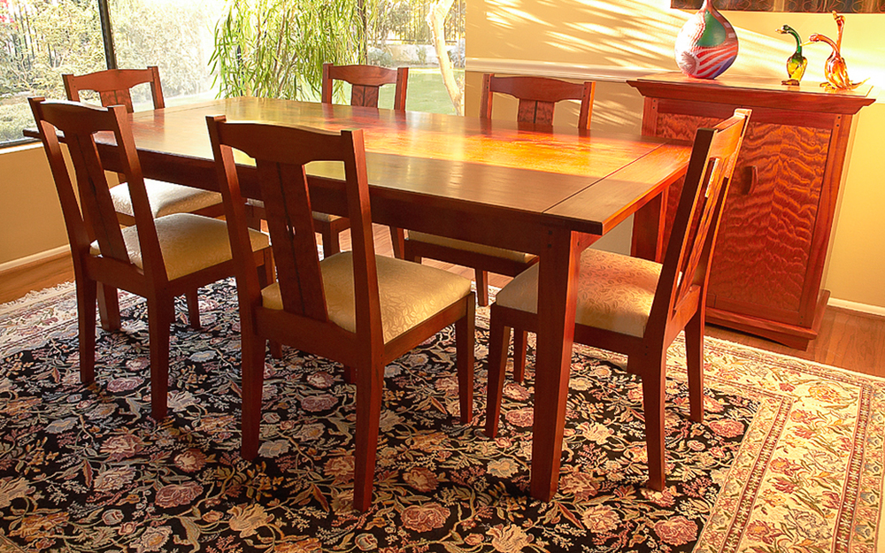 Cuban & Quilted Mahogany Dining Set.