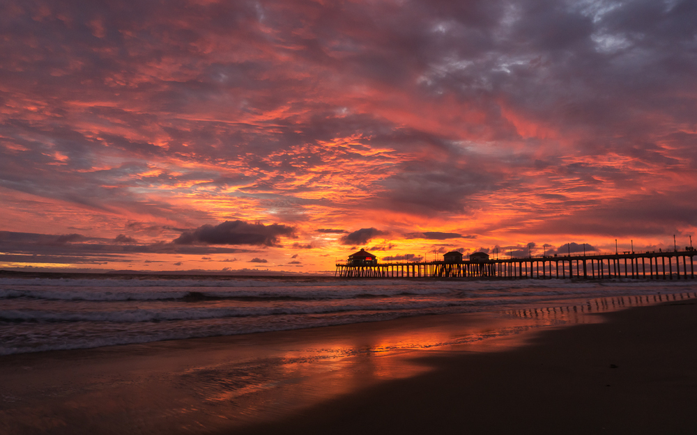 Sunset over the Huntington Beach Pier.
