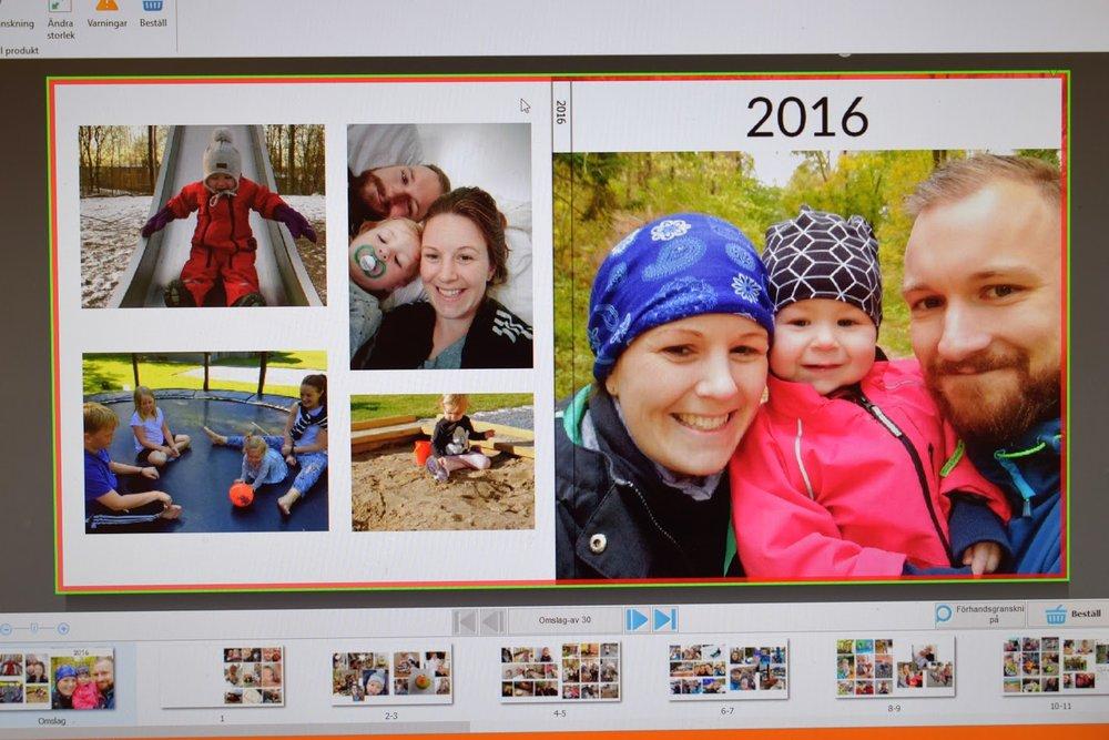 14:00 - Lägger sista handen vid 2016 års fotobok. Och konstaterar att 2017 väljer vi bilder i slutet av varje månad istället för en gång i slutet av året.