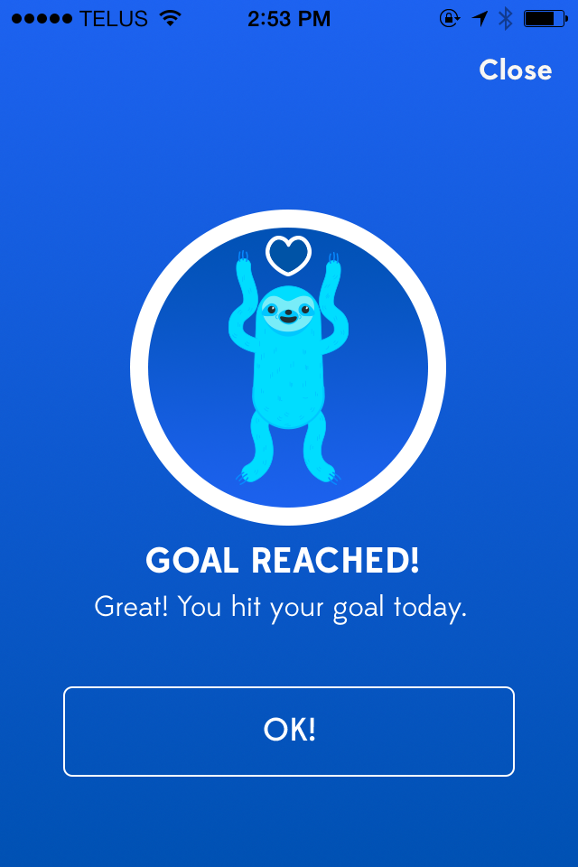 Reach your goal and you'll see an extra happy sloth.