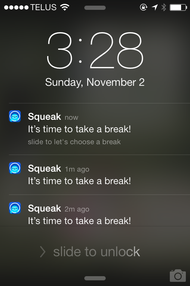 Squeak notifications will be stacked and ready for you when you decide to take your break