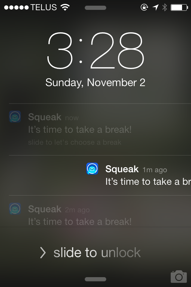 Slide your finger on one of these notifications to open the app straight to the Break Suggestion screen.
