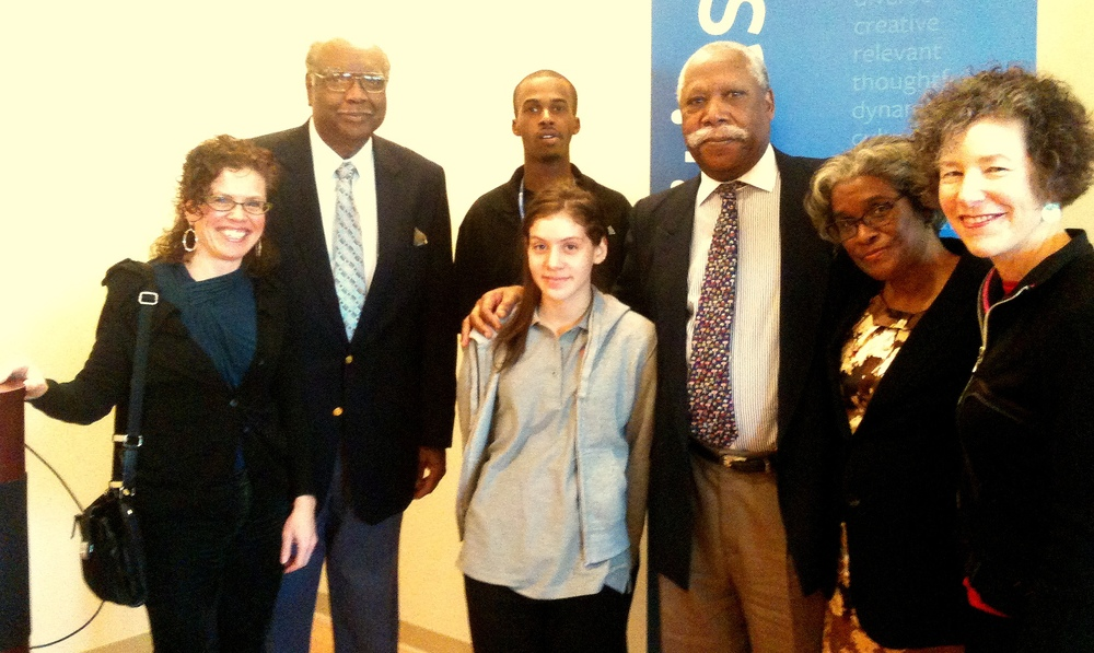 Pictured from left to right: J L Kruse, Writer and Proprietor of MsElephantGun; Booker T. DeVaughn, President Emeritus of Three Rivers Community College and Co-Chair of Connecticut's Civil War Commemoration Commission; Shelton Watkins, member of the Goodwin College MOVE Program (Men of Vision in Education); Monica Correa, member of the Goodwin WISE Program (Woman Invested in Seeking an Education); Dr. John Walters, Princeton University Professor Emeritus; Gaylynn Moore-Collins, Sociology Professor, Goodwin College, and Katharine Kane, Executive Director, Harriet Beecher Stowe Center.