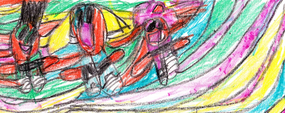 """Power Puff Girls"", crayon on white 8 1/2 x 11 paper, created by my son, age 6"