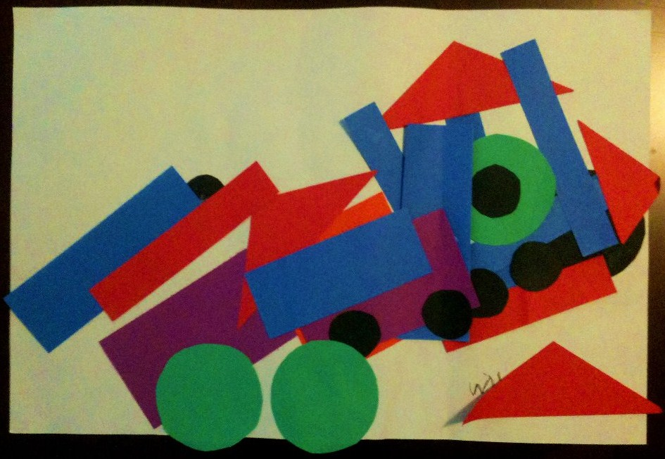 Will's Train, Age 4, Construction Paper on Construction Paper, Displayed on the Dining Room Table