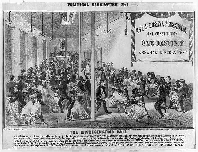 """The Miscegination Ball"", a racist political cartoon, circa 1864, criticizing the Republican Party and playing on white fears of racial intermingling. Library of Congress Prints and Photographs Division, Reproduction #LC-USZ62-14828."