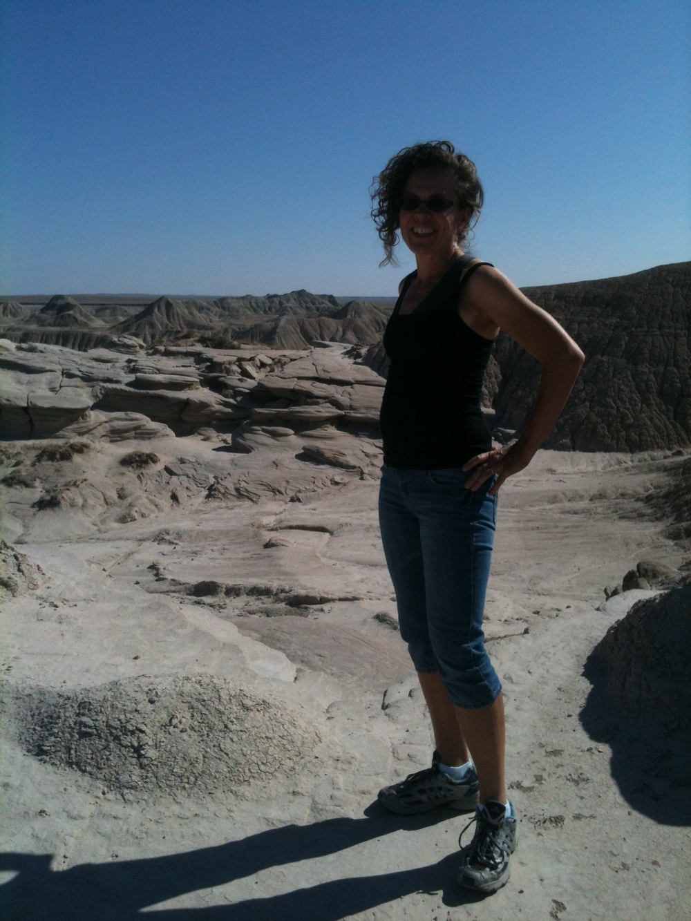 The real me, un-made-up, sweaty, hiking Toadstool Geologic Park last summer