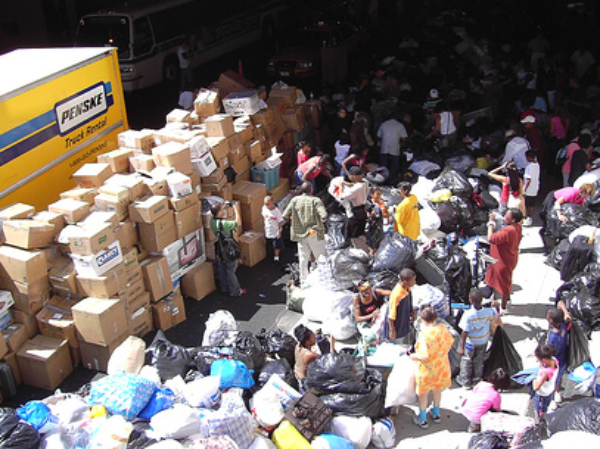 A collection point for donated supplies headed to New Orleans after Hurricane Katrina. (Photo Credit: flickr/Barrett Aspach)