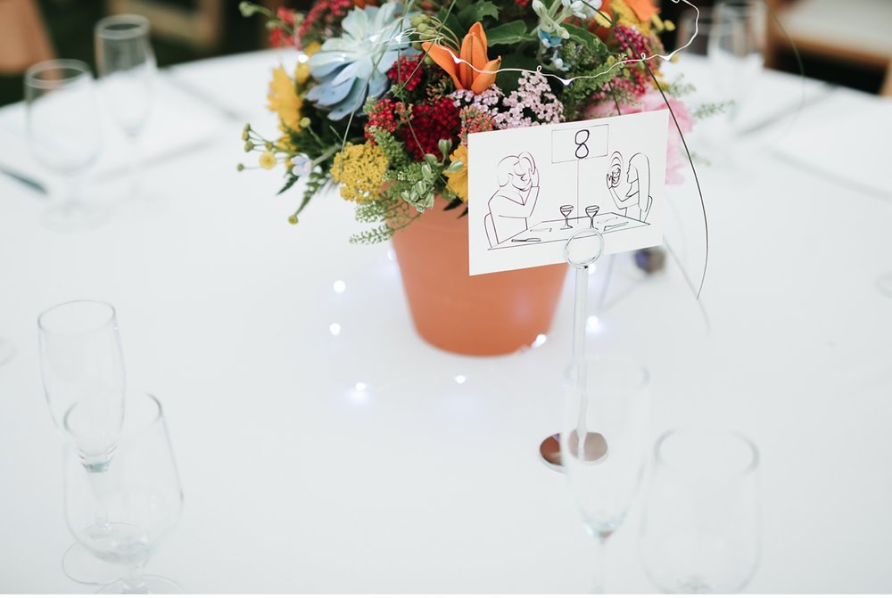 Hand drawn table signs at boho chic wedding, willowwood NJ