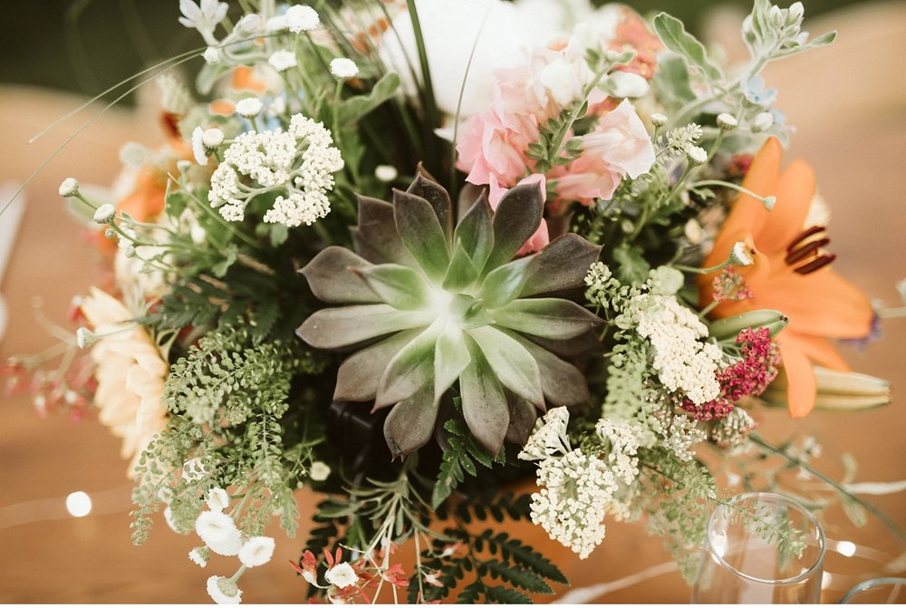 succulent wedding centerpiece at Willowwood Arboretum